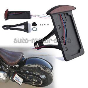 Motorcycle Vertical License Plate Bracket Side Mount Holder Led