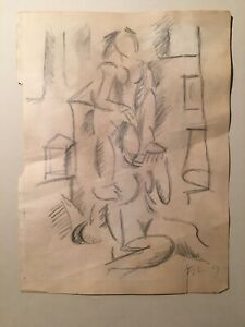 1913-Fernand-Leger-Cubist-Drawing-Duex-Femmes-Important-and-Rare