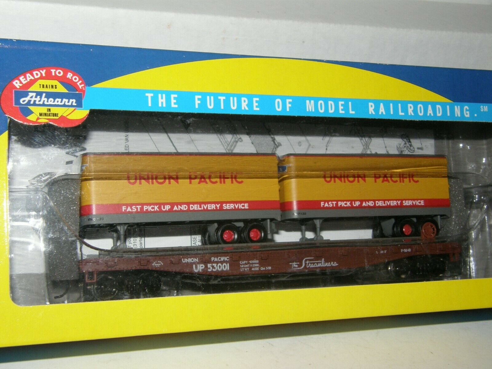 ATHEARN HO scale RTR 92359 UNION PACIFIC  53001 50' FLAT auto w 2  25' TRAILERS