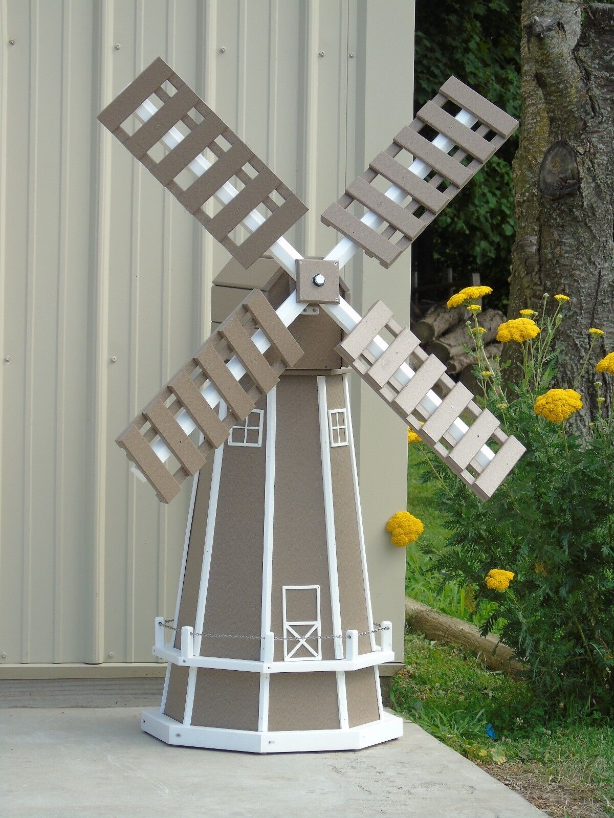 5 ft. Octagon (8 sided) Polywood Dutch Windmill (Clay with White Trim)