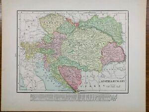 1901-Vintage-AUSTRIA-amp-HUNGARY-Map-14-034-x11-034-Old-Antique-Original-BOSNIA-CROATIA