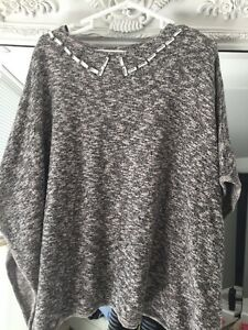 Zara-Poncho-Style-Grey-Marl-Knitwear-Top-new-Without-Tags-Size-Medium
