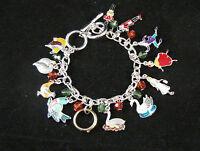 Twelve Days Christmas Charm Bracelet Classic Carol Silver Tone Adj Toggle Clasp