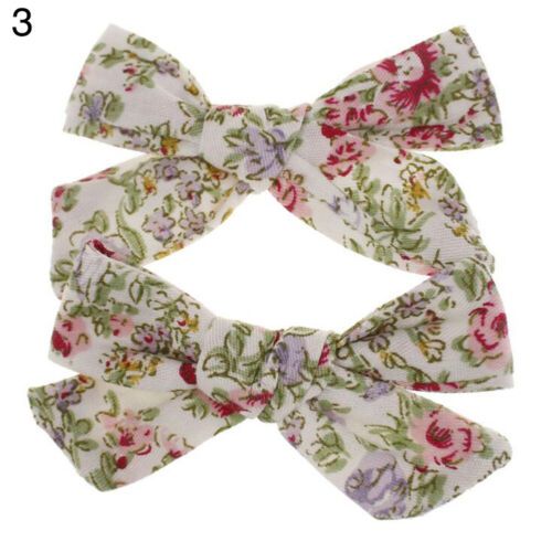 2PC Baby Children Kids Girl Flowers Print Hair Clips Pins Barette Hairpin Sweet