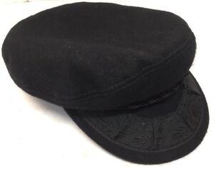 dfefcae93cb3f Vintage Genuine Greek Fisherman s Cap Black Made In Greece 85%Wool ...