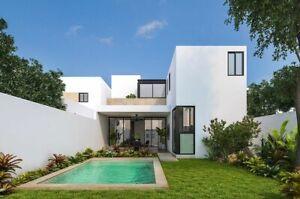 Amplia casa de cuatro habitaciones en privada pequeña al norte de Mérida