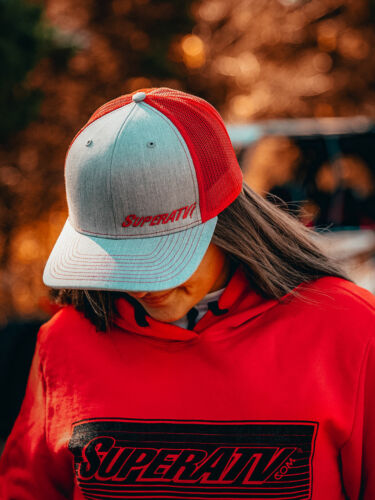 Snapback Fit Cap SuperATV Gray and Red Trucker Hat