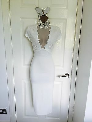 White Sheer Statement Lace Choker Evening Bodycon Party Midi Dress BNWT 8-14 £85