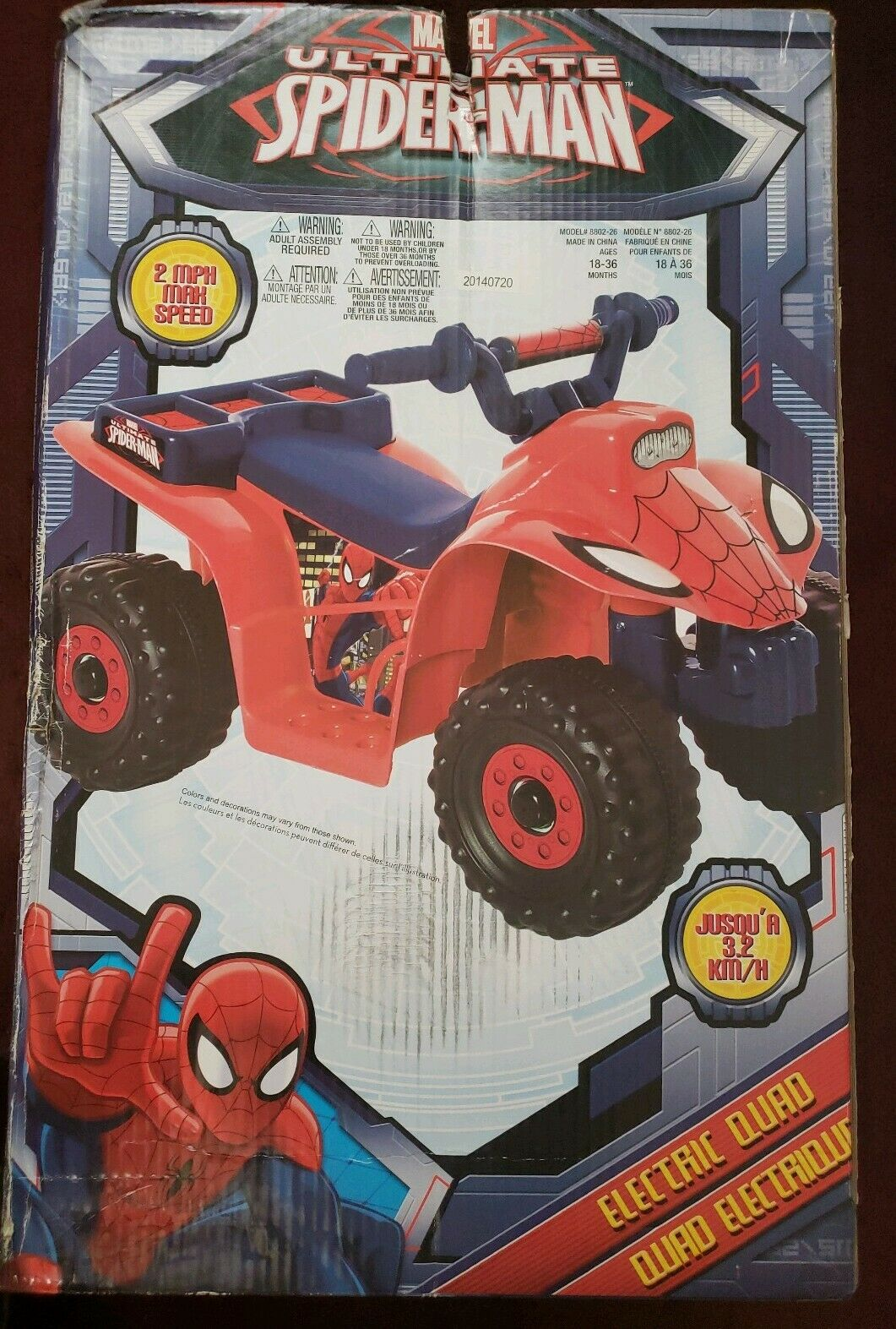 Ride On Toy Marvel Ultimate Spider-Man 6V Quad Riding Rechargeable Battery Read