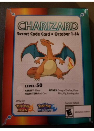 Target EXCLUSIVE Charizard 2017 Pokemon Event Card Code Sun /& Moon NEW