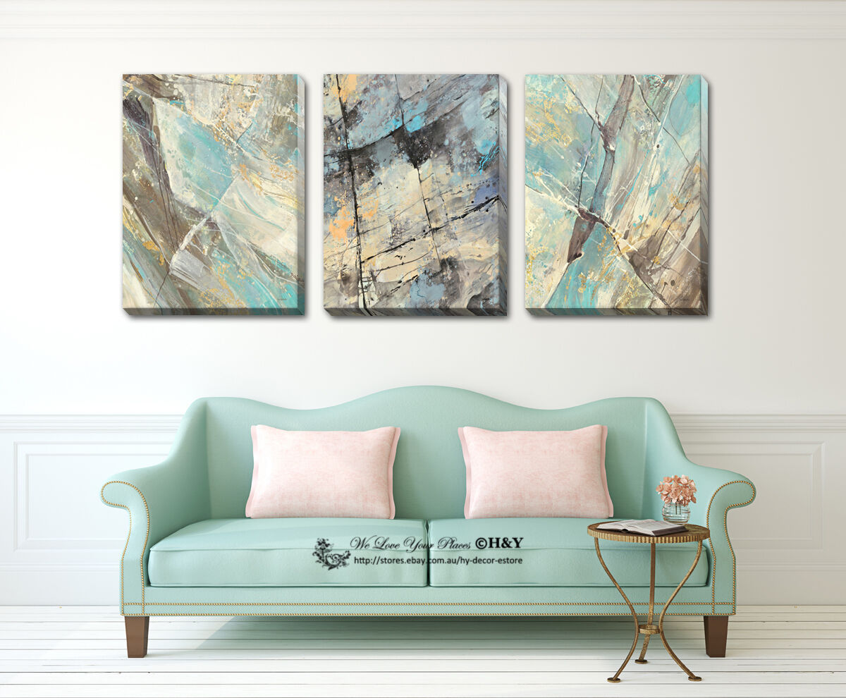 Set Of 3 Abstract Stretched Canvas Prints Framed Wall Art ...