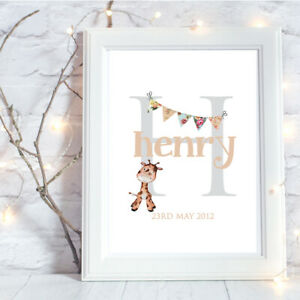 Personalised-A4-Print-Initial-Baby-Family-Name-Gift-Wall-Art-Bunting-NO-FRAME