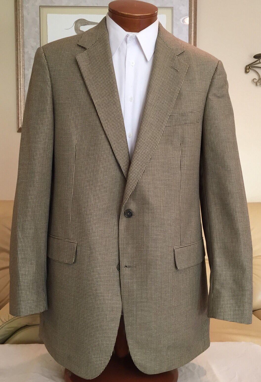 Brooks Brothers  Herren Braun Beige Houndstooth Wool Coat Blazer Sz 42 XL MINT