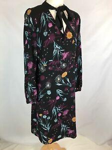 Per-Una-Size-14-Long-Sleeve-Black-Dress-Floral-Purple