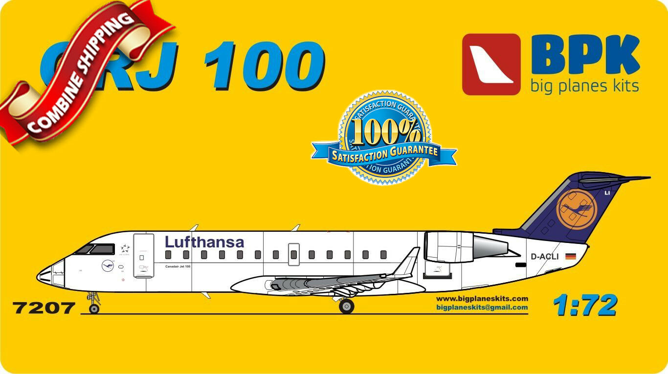 BPK (Big Planes Kits) 7207 Bombardier CRJ 100 Lufthansa airways plastic kit 1 72