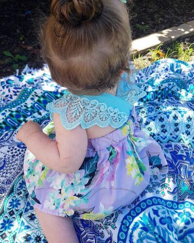 US 2Pcs Summer Newborn Baby Girl Flower Romper Dress Bodysuit Outfit Clothes Set