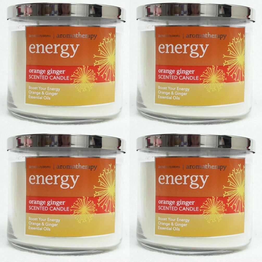 4 Bath & Body Works Aromatherapie Energie Orange Ingwer 3-Wick Groß Kerze