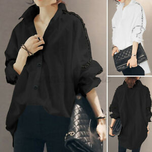 ZANZEA-Womens-Cotton-Long-Sleeve-Shirt-Tops-Turn-Down-Collar-Spliced-Blouse-Plus