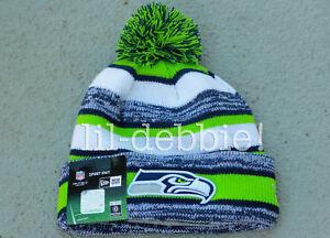AUTHENTIC Seattle Seahawks 2014 New Era On Field Sideline POM Beanie ... e24bd749b51
