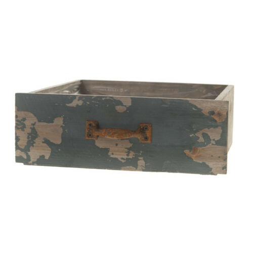 """On Pot-Planter /""""Drawer/"""" Antique Green//Turquoise 24 x 22 x 8cm"""