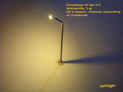 5 x LED-Peitschenlampen in warmweiss für Spur N und Z />/>/>/>Neu