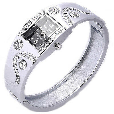 Womens Girls Chic Bracelet Bangle Wave Rhinestone Crystal Wrist Watch B57U