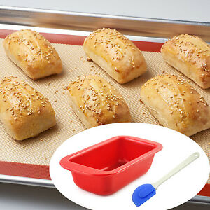 Silicone bread loaf mold cake non stick bakeware baking pan oven mould - 10 Set Lot Bread Loaf Pan Non Stick Silicone Bakeware