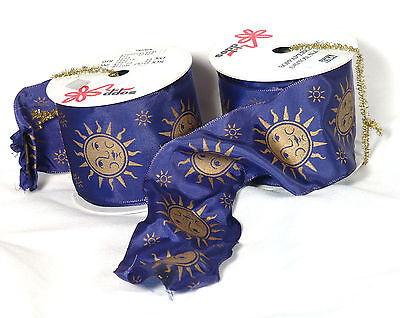 """NEW spools 2 1//2/"""" Asst Lot 5 Spring Summer Shower Wire Edged Ribbon 3-yd"""