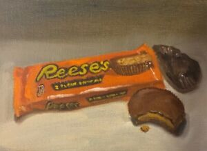 Reese-s-cup-Candy-still-life-Original-Oil-Daily-Painting