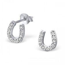 925 argento Sterling chiaro zirconi Orecchini a perno ferro di cavallo