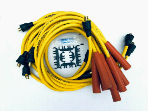 1955-74 SB Chevy 327 350 V8 Yellow Spark Plug Wires Points Cap