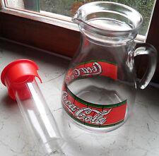 Caraffa Brocca Coca Cola Vetro + Portaghiaccio Vintage Rara Anni 80 Carafe Coke