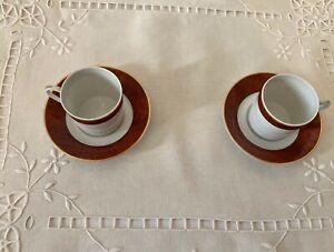 """HAVILAND LIMOGES FRANCE   2 Tasses à café en porcelaine Modèle """" Marco Polo """""""