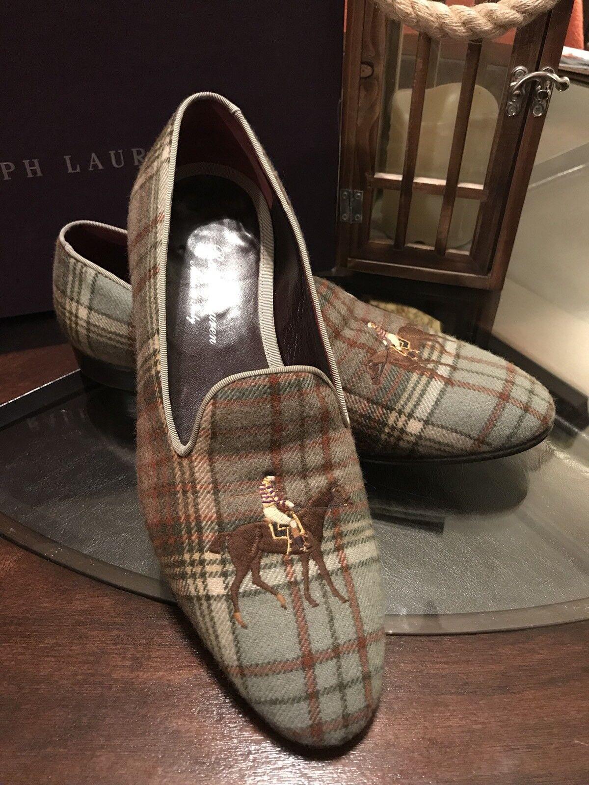 Ralph Lauren Purple Label Gent's 9D Wool Tartan  Slippers In Shoes Made In Slippers Italy c50b07