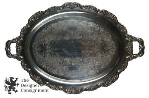 30-039-039-Ornate-Poole-Silverplate-Footed-Scalloped-Tray-Service-Handle-Waiter-Butler