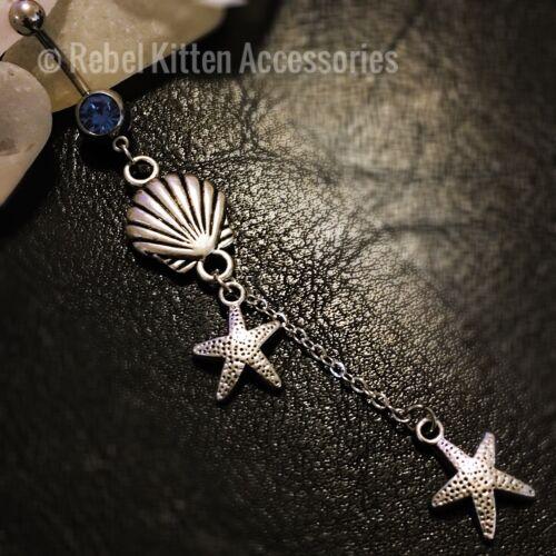 14g Blue Cz Dangle Boho Vintage Seashell Shell Beach Belly Button Navel Ring