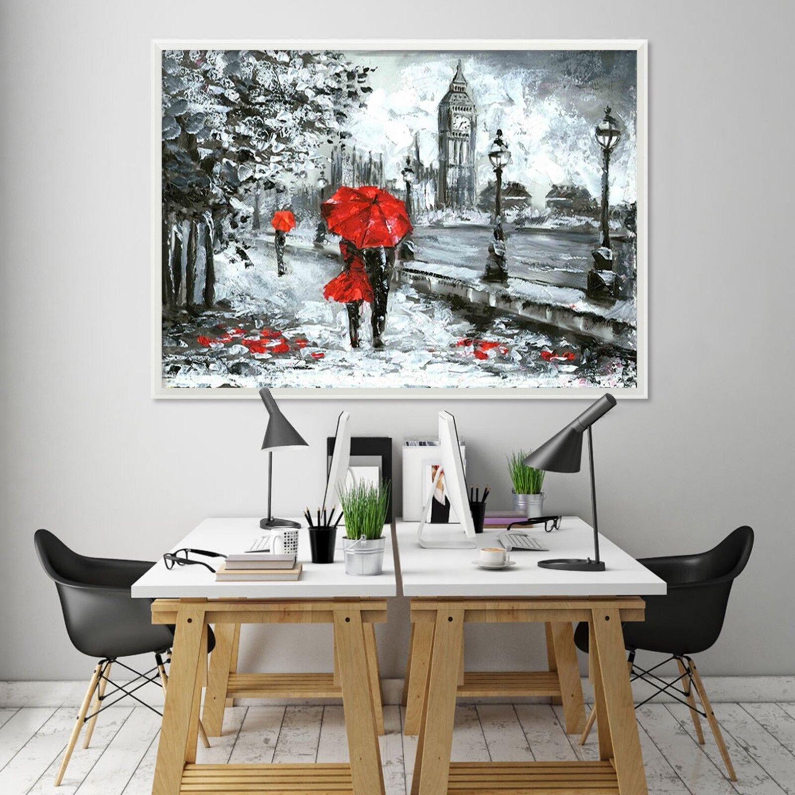 3D London Street Snow View 1 Framed Poster Home Decor Print Painting WALLPAPER