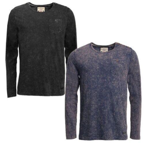 Hommes T-Shirt Manches Longues Brave Soul Magnus Ras de Cou Délavé Délavé Haut