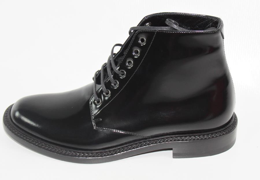 AUTH YSL Saint Laurent Women Black Patent Leather Boot 35