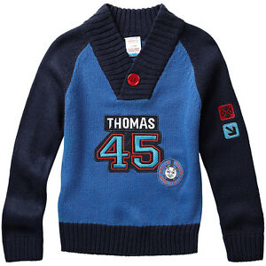 Boys-Thomas-amp-Friends-Long-Sleeved-Shawl-Collar-Button-Knitted-Acrylic-Jumper