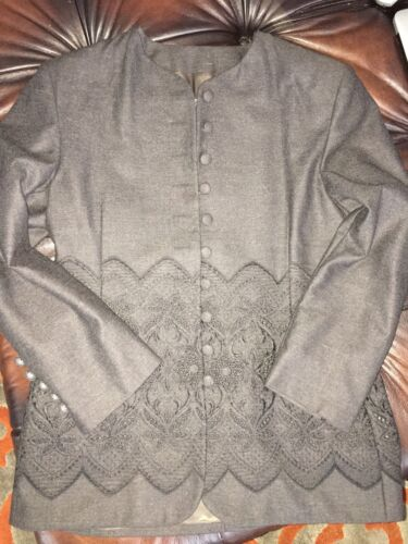 Swish Buttondown Charcoal Collarless Black Embroidered Polished Wool Long Blazer 00dSUwqr