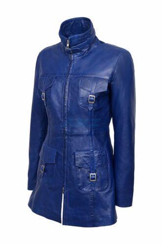 lederen Lasvegas Dames jas trenchcoat gewassen dames donkerblauwe Vintage zachte xYOqTBYw