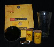 VINTAGE EASTMAN KODAK DARKROOM LAMP SAFELITE FILTERS & DEVELOPER & GLASS BEAKER