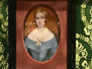 Mid-19th-Century-Hand-Painted-Portrait-Miniature-of-A-LADY