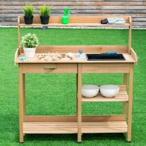 Image Is Loading Garden Wooden Potting Bench With Storage Drawer Shelves