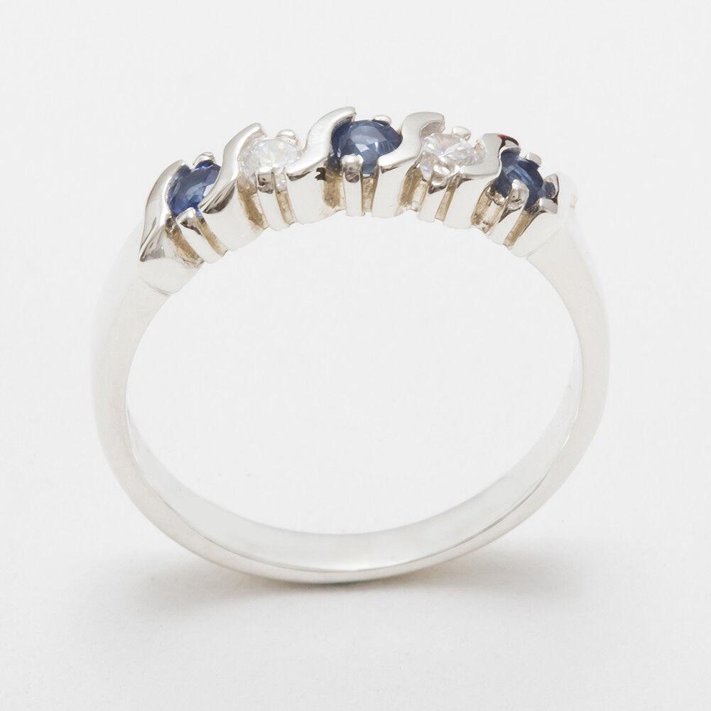 14k White gold Natural Sapphire & Diamond Womens Eternity Ring - Sizes 4 to 12