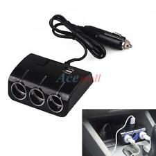3 LED Socket 120W Car Cigarette Lighter Splitter 2 Usb Charger Adapter w/ S