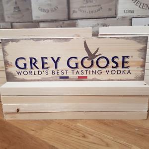 GREY GOOSE Vodka Signs Plaques Man Cave Bar Pub Wood Block Rustic Vintage Sign