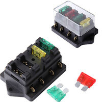 Middle Sized 4 Way Fuse Blade Holder Box Block W/ 10a 20a 30a Fuse Cover 12/24v