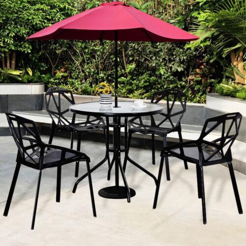 60//80CM BISTRO TABLE BLACK FRAME GLASS TOP OUTDOOR GARDEN PATIO FURNITURE CAFE